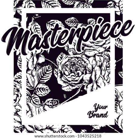 "A special pattern with square shapes that form roses inside. Ideal for summer 2018s in the t-shirt prints. Contains the word ""Masterpiece"", and free space for your personal or corporate brand."