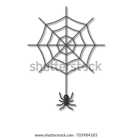 A spider hanging on a cobweb on a white background. The icon. Design for banner, poster for Halloween.