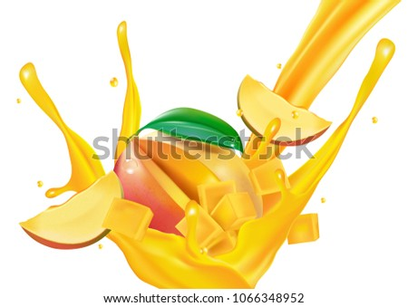 A splash of mango juice with slices. Realistic vector fresh fruit. design concept, 3d rendering illustration.
