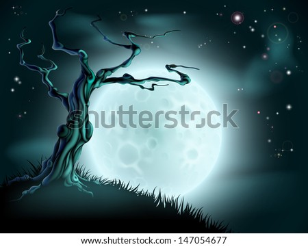 A spooky scary blue Halloween background scene with full moon, clouds, hill and scary tree