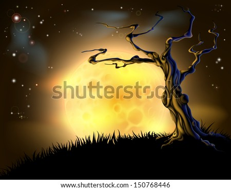 A spooky scary orange Halloween background scene with full moon, clouds, hill, and scary tree