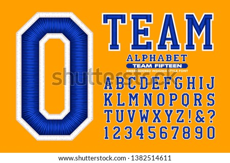 A sports or collegiate-style alphabet. This font has 3d embroidered thread effects.