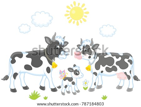 A spotted white and black cow, a bull and a small calf, a vector illustration in cartoon style