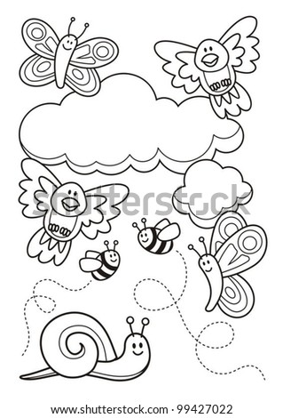 A spring scene with baby animal cartoons, butterflies, birds, bee and a snail, line art for coloring book page.