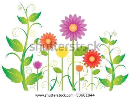 a springtime garden blooming
