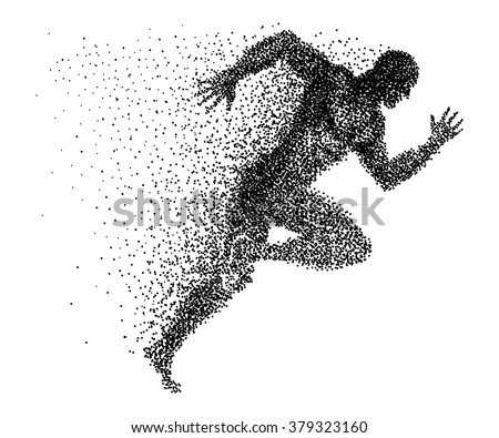 a sprinter made from small dots