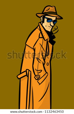 a spy wearing a raincoat