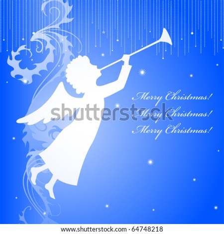 A square christmas card with an angel silhouette - stock vector