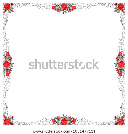 A square colored frame with red roses and black ornaments, curls. #1031479111