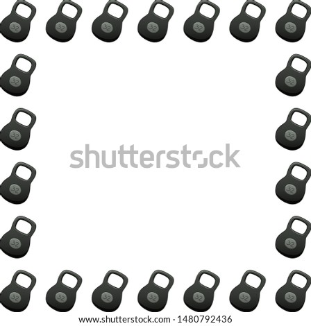 A square frame made up of kettlebells of 32 kilograms. White background, vector.