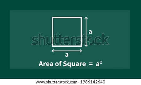 A square is a 2D figure in which all the sides are of equal measure. the area would be length times width which is side × side i.e side square vector illustration on chalkboard background.