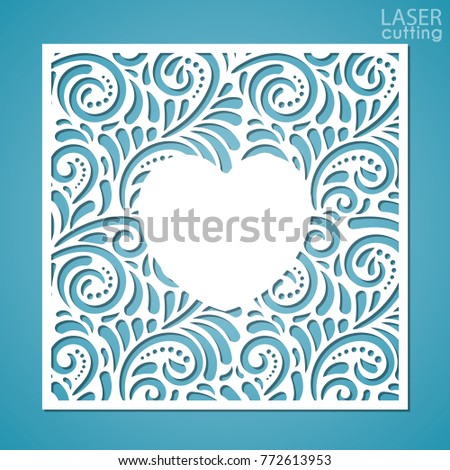 A square panel with lace pattern and heart-shaped frame in the center. Template for interior design, layouts wedding cards, invitations. Image suitable for laser cutting, plotter cutting or printing.