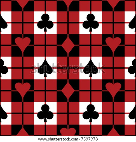 "A 12"" square repeating vector plaid pattern with the four playing card suits."