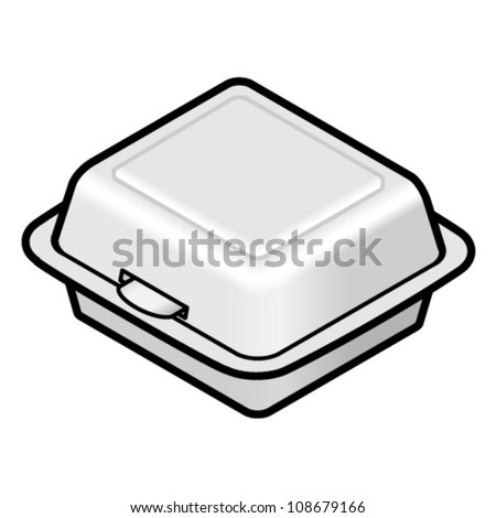 A square styrofoam takeaway container.