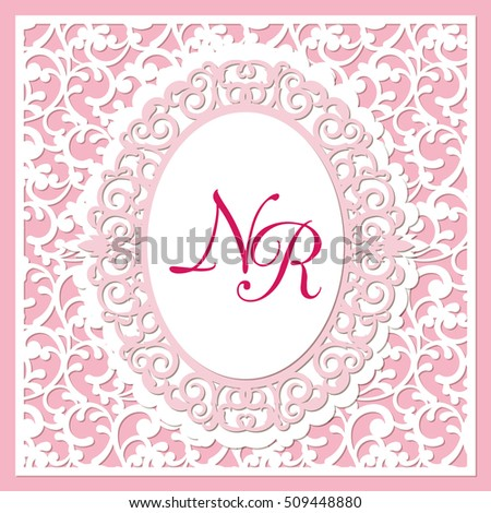 A square template for wedding cards, invitations, etc. with lace pattern and openwork frame inside. Image suitable for laser cutting, plotter cutting or printing.