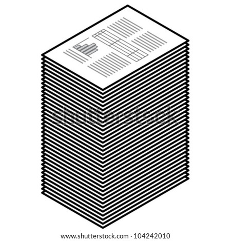 A stack of black and white printouts / hardcopy documents.