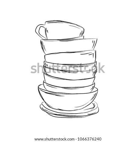A stack of cute  dishes. Plates, cups and mugs.Sketch. Vector image isolated on white background.