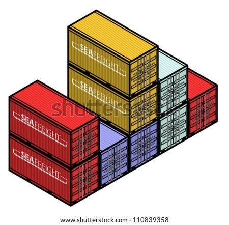 A stack of sea freight containers. - stock vector
