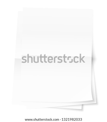 A stack of three sheets of paper stacked on top of each other. Fold in the middle of the sheet. Transparent shadows on the table. Curved corner sheet