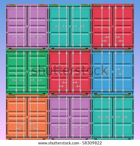 A Stack of Vector Freight Containers