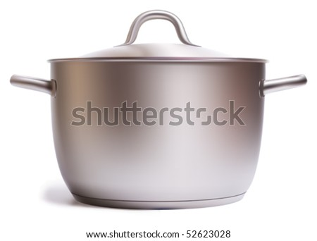 A stainless pan isolated on a white background. Vector Illustration