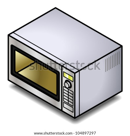 A stainless steel microwave oven. - stock vector