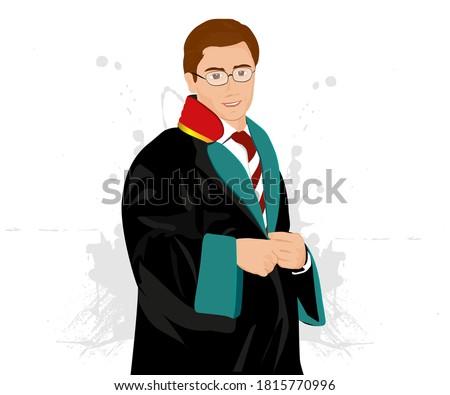 A standing lawyer, wearing his robe and in front of a white background. / Cübbesini giyinmiş, tebessüm eden bir avukat portresi Stok fotoğraf ©