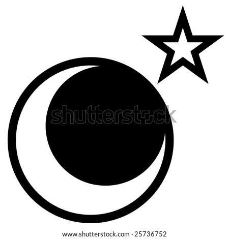 star and moon vector drawing isolated over white.