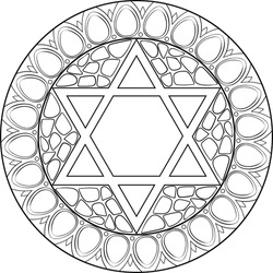 A star of david illustration mandala, decorated with jerusalem stone and gems jewely framing. Use for Jewish holidays decorations, coloring activities, travel blogs, postcards and more