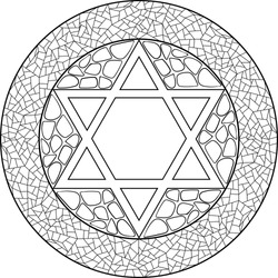 A star of David illustration mandala, decorated with Jerusalem stone and mosaic framing. Use for Jewish holidays decorations, coloring activities, travel blogs, postcards and more