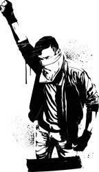 A stencil image of a lone protestor with their fist in the air.