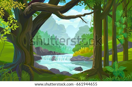 A stream of river flowing across a dense green forest