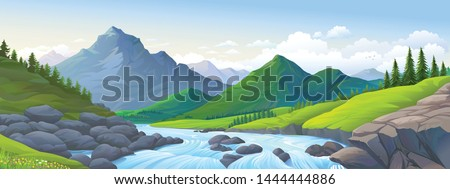 a stream of river with boulders