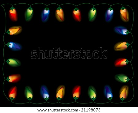 A String Of Chili Pepper Lights In Multiple Colors, On Black Background. Stock Vector ...