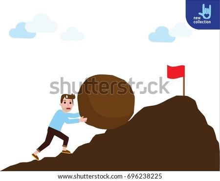 a strong man pushing a big rock
