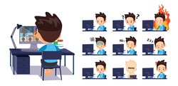 A student who is having an online class at home. express various emotions
