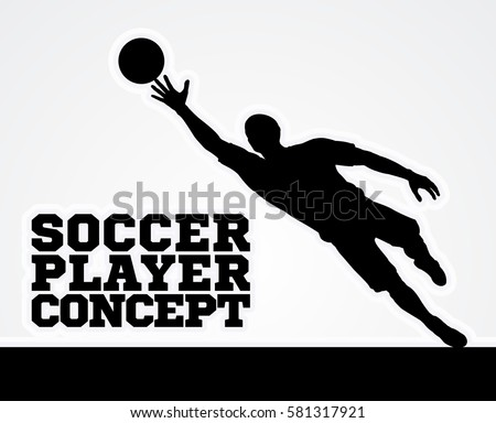 A stylised illustration of a soccer football goal keeper player in silhouette diving to catch the ball
