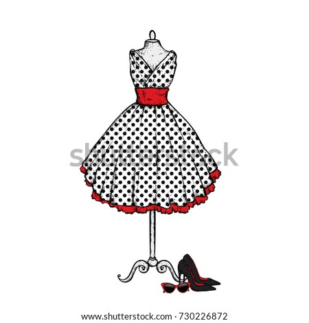 a stylish vintage dress  high