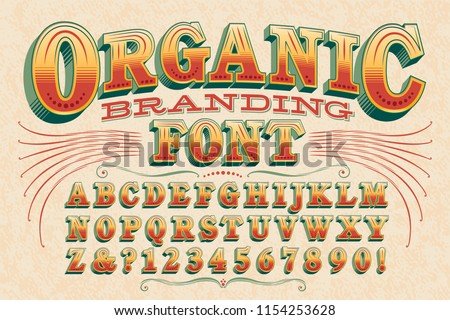 A stylish vintage-styled 3d font perfect for organic food branding