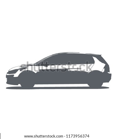 A stylized hatchback in black and white , isolated hatchback vector. volkswagen golf, vw golf