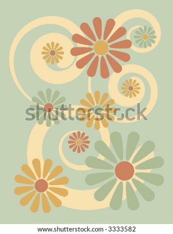A stylized illustration of flowers on a green background, reminiscent of 1960s-70s pop art.