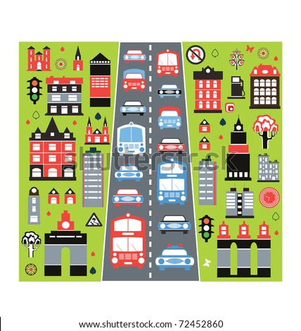A stylized image of the urban automobile traffic in the big city