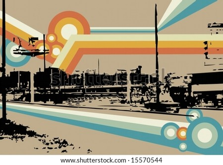 a stylized picture of a city - stock vector