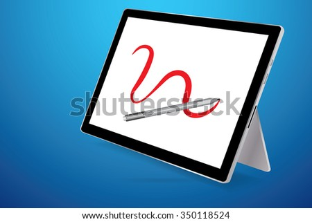 A stylus drawing red line on blank screen tablet, blue background.