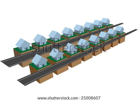 A subdivision section or a neighborhood - two rows of row houses on blocks on streets.