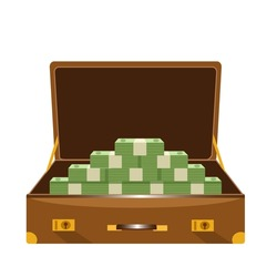 a suitcase full of money on white background
