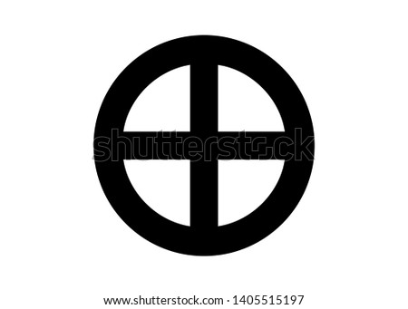 A sun cross, solar cross, or wheel cross is a solar symbol consisting of an equilateral cross inside a circle. The design is frequently found in the symbolism of prehistoric cultures. Vector Isolated