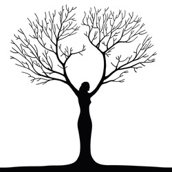 a surreal illustration of a woman tree