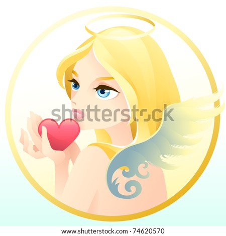 A sweet angel holding a red heart.
