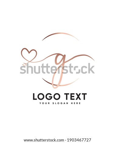 A sweet, fall in love with its authentic feel and soft hand-lettered type G logo template, Vector logo for business and company identity  Stock fotó ©